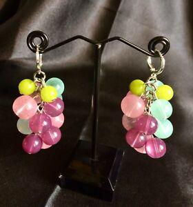Jade Style , Glass  Cluster Berry Earrings  Handmade w.Green Peridot Stone Beads