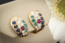 Schmuck Ohrstecker Ohrringe Perfekte Brillanten Smaragd Rubin Saphir in Rotgold