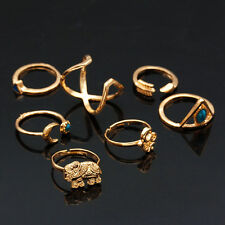 7pcs Gold Mix 5-8# Turquoise Retro Calf Elephant Moon Knuckle Finger Rings Set