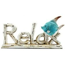 Relax Resin Word with Fish. Wood-Textured . Nautical or beach-themed decor. NEW