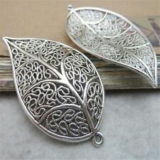 10pcs Tibetan Silver Style Leaf Charm Hollow Pendants 30*54mm Alloy Jewelry P489