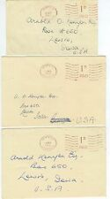1949-50 Morpeth Great Britain 1D meter covers to US - Andrew Davis Xmas Cards