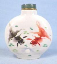 Vintage Snuff Perfume Bottle Porcelain Exotic Fish #5