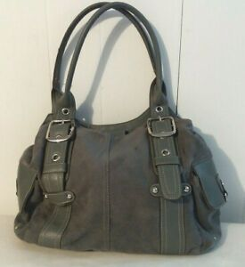 Gray Simulated Leather & Soft Suede Shoulder Bag  W/Silver Hardware & Snaps