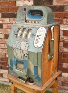 Antique 1930s Mills Horse Head BONUS Nickel Slot 5 Cent Slot Machine WORKING