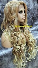 "36"" Long Wavy Layered Medium Blonde Mix Full Lace Front Wig Heat Ok Hair Piece"