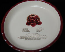 Vintage Deep Dish 10'' Apple Pie Plate / Dish with Recipe - Red [S7523]
