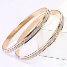 Punk Women Elegant Stainless Steel Scrub Wristband Infinity Bangle Bracelet Gift