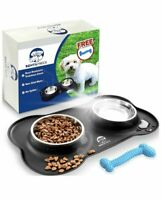 """Stainless Steel Dog Bowls And Silicone Mat Set By Bent & Freck,Two 5-1-2"""" Bowls"""