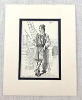 1889 Antico Stampa Dodicesimo Notte Teatro Costume Il Sailor Shakespearean Abito