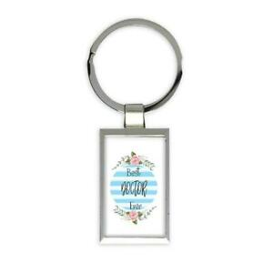 Gift Keychain : Best DOCTOR Ever Christmas Cute Birthday Stripes Blue