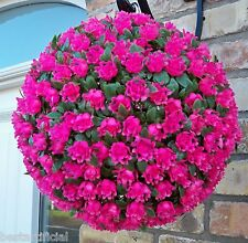 Best Artificial 28cm Pink Rose Topiary Hanging Flower Ball Grass Plant New