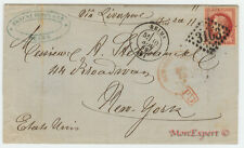 France cover 1869 Reims to New York (USA) - Steamer