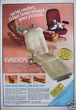 PUBLICITÉ 1980 FAUTEUIL EVERSTYL CONFORT ADVERTISING