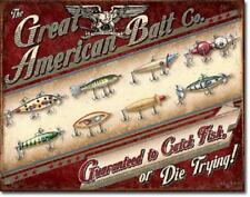 Great American Bait Company Fishing Fish Cabin Wall Art Decor Metal Tin Sign New