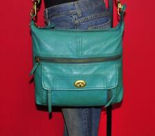 FOSSIL 'Stanton' TEAL GREEN Leather Cross-Body Tote Carryall Organizer Purse Bag
