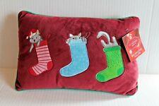 St Nicholas Square Christmas Stocking Kitty Cat Decorative Throw Pillow NEW