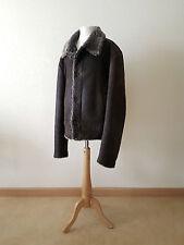 PRADA black label men's brown leather jacket 48 M L Italy lammy coat lamb fur