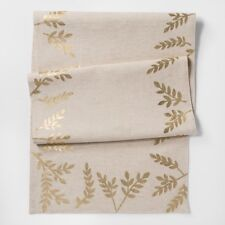 THRESHOLD NATURAL WITH SHINY GOLD LEAF DETAILS TABLE RUNNER 20X90 COTTON LINEN