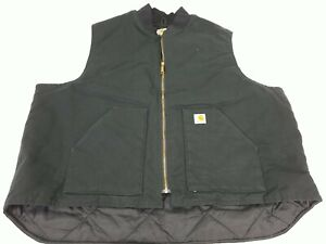 Men CARHARTT Black Canvas Chore Insulated Lined Duck Vest V01 BLK Ranch 4XL Tall