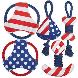 Dog Toy All Paws On Deck Patriotic Red White Blue Neoprene Rope Squeaker FLOATS
