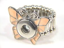 Noosa Style Chunk Ring Base Mini Snap On Jewellery  Button Charm Buttefly 12mm