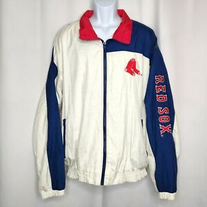 Vintage Red Sox Windbreaker Jacket Sz XL Embroidered Back Sleeve Front Logos