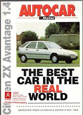 Citroen ZX Avantage 1.4 5-dr Best Car In World 1993 UK Market Foldout Brochure