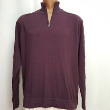 LL Bean XL Sweater Men's 1/4 Zip Purple Cotton Cashmere Saddle Shoulder