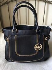 Michael Kors Satchel Tote Handbag Navy Leather and Gold Hardware RARE and NEW