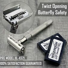 Twist Open Butterfly Safety Razor &10 Double Edge Blades Shaving Vintage Tools