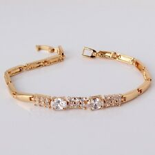 "White sapphire woman 24k yellow gold filled charms Engagement bracelet 7""8.7g"