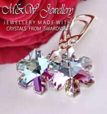 925 STERLING SILVER EARRINGS CRYSTALS FROM SWAROVSKI® SNOWFLAKE VITRAIL LIGHT AB