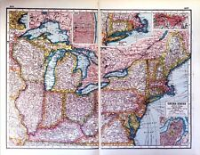 Vintage Antique Original 1920 Print Map Of The United States USA North East