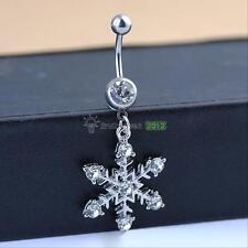 Snowflake Rhinestone Diamante Dangle Navel Belly Button Ring Bar Pin Piercing