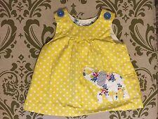 Baby Boden Elephant Appliqué Yellow Polka Dot Dress Size 3-6 Months