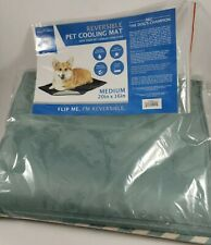 "AKC Reversible Pet Cooling Mat Medium 20x16"" - Green/Vanilla Herringbone Pattern"