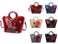 New Women Large Shiny Patent Leather 3D Floral Shouder Bag Tote Shopper Handbag