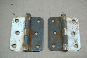 ANTIQUE PAIR FLAT SCREEN DOOR HINGES FLAT POSTS STRAIGHT SIDES OLD PAINT - #6-2