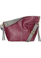 Tasche Shopper Bag Schultertasche Handtasche Lederimitat bordeaux / grau Lila