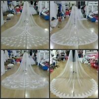New White / Ivory Cathedral Bridal Cape Cloak Lace Long Wedding Dress Accessory