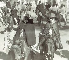 1927 Original Photo by Ewing Galloway Abyssinian bride rides donkey to wedding
