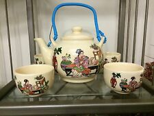 Japanese Porcelain Teapot And Cups 7 Piece Set With Blue Plastic Handle