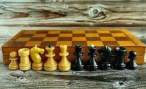 Vintage Wooden Chess Set 1980 USSR tournament Folding Board 22x22 For Trave