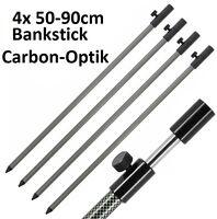 4x Bank Stick SET Carbon Optik 50-90cm Alu leicht für Stalking Rod Rest schwarz
