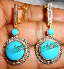 NEW 1.70ct ANTIQUE ROSE CUT DIAMOND SILVER 925 VINTAGE TURQUOISE DANGLE EARRINGS
