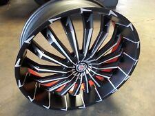26 inch Scarlet SW5 Black Machine Wheel rims fit 5 X 120 Offset +13