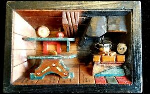 Vintage Rustic Cabin 3D Interior Scene Wooden Wall Hanging HOME HEARTH, KITCHEN