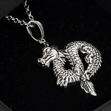 925 Silver Chinese Dragon Pendant Heavy Gothic East Asian Necklace 20'' chain
