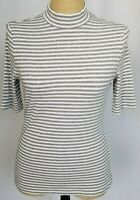 Banana Republic Top Medium Gray White Striped Mock Neck Short Sleeve Ribbed NWT